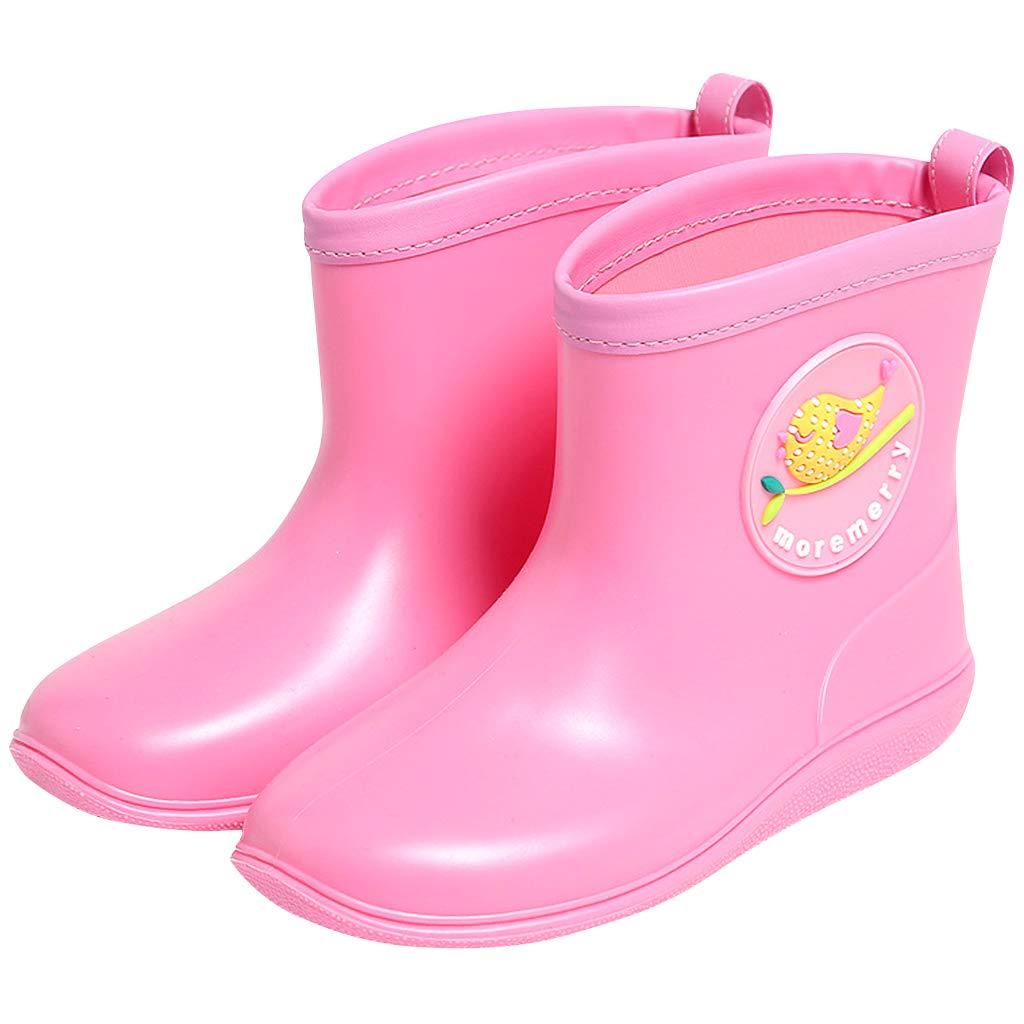Gar/çons Filles Wellies Bottes en PVC de Pluie Caoutchou Wellington L/éger Antid/érapant Etanche Chaussures Toddler Enfants Bottes de Pluie et Bottines Imperm/éables Jaune Bleu Rose Rouge