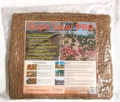 EarthAid Slope Saver PRO Erosion Control Kit 140 Square Feet Jute Netting, 52 Steel Soil Staples