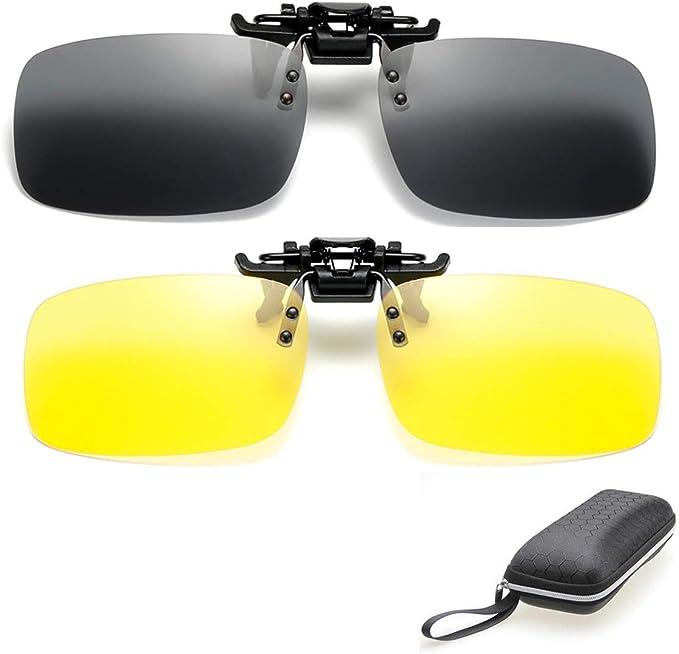 Flip-up Driving Glasses Sunglasses Polarized UV400 Day Night Vision Clip-on Lens