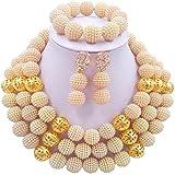 aczuv 3 Rows Simulated Pearl Beads African Jewelry Set Nigerian Wedding Bridal Jewelry Sets