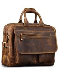 Kattee Mens Leather Durable Briefcase, 16 Laptop Bag