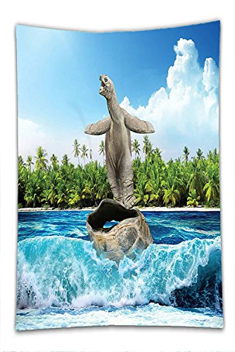 Nalahome Fleece Throw Blanket Animal Decor Naked Turtle left its Big Shell Surfing on its Home on the Ocean Sunny Beach Print - Naked Man Hot Indian