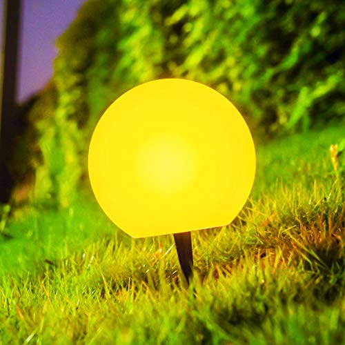 LOFTEK Path Lights, 8-inch Pathway Outdoor LED Ball Light, IP65 Waterproof Floating Pool Lights, Rechargeable Globe Stake Metal Lights, Hanging Glow Orb for Lawn,Patio or Courtyard (Light Outdoor Spheres)