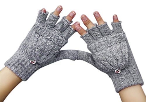 Women Ladies Girls Winter Chunky Wool Crochet Convertible Gloves Warm Half Finger Mittens Stretchy Thermal Cable Knitted Flip Top Fingerless Texting Gloves with Mitten Cover Hand Warmer Christmas Gift Gray One Size (Gloves Fingerless Ladies)