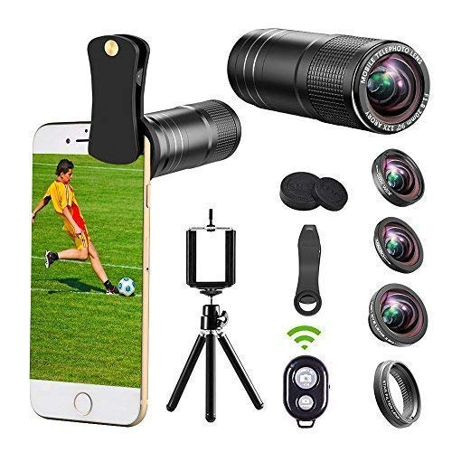 (For iPhone Camera Lens, 12x Telephoto Lens kit + 0.65x Wide Angle & Macro Lenses + 180° Fisheye Lens + Star Filter Lens, Clip-On lenses for iphone X 8 7 6s 6 plus, Samsung Android Smartphones & Tablet)