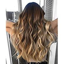 Ugeat 22inch Brazilian Real Human Hair Weave 100Gram One Bundle Balayage Ombre Black and Blonde Double Weft Hair Bundle