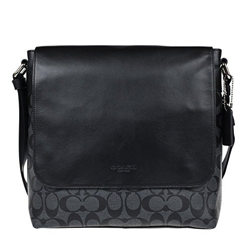 c529bd481bcd Coach Outlet Mens Crossbody Messenger Bag Black Leather F54782 BLK ...