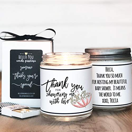 Baby Shower Hostess - Bridal Shower Hostess Gift | Baby Shower Hostess Gift | Bridal Shower Thank You Gift | Baby Shower Thank You Gift | Thank You For Showering Me With Love Candle