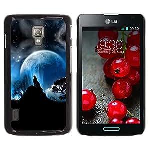 LECELL -- Funda protectora / Cubierta / Piel For LG Optimus L7 II P710 / L7X P714 -- Full Moon Wolf Wolves Howl Stars --