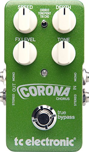 TC Electronic Corona Chorus Pedal with TonePrint BUNDLED WITH Blucoil Power Supply Slim AC/DC Adapter for 9 Volt DC 670mA, 2 Pack of Pedal Patch Cables AND 4 Celluloid Guitar Picks