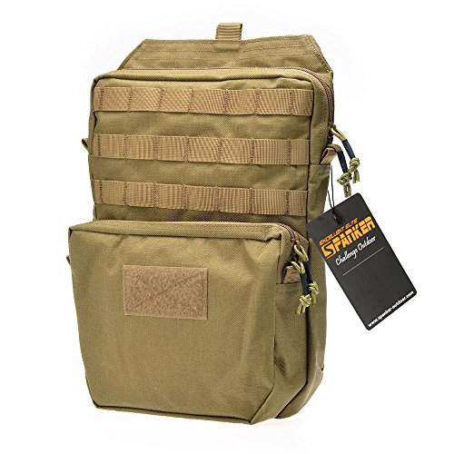 Military Tactical Backpack Outdoor Bag Molle Bladder Carrier Nylon Rucksack Combat for Shooting Hunting Hiking Camping (Brown)