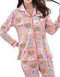 MyFav Big Girls Bear Panda Pajama Button Down Sleepwear Cute Cartoon Loungewear