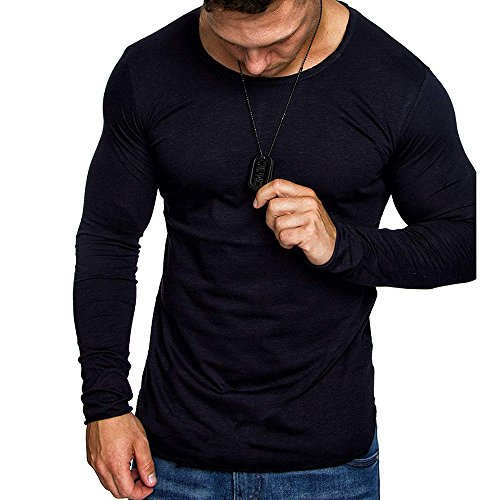 Realdo Mens Casual Slim Crewneck Long Sleeve Solid Tops T-Shirt(Medium,Navy)