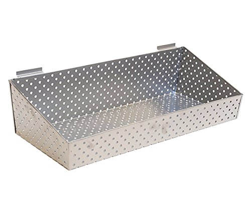 KC Store Fixtures A02023 Slatwall Basket, 24'' W x 10'' D x 3'' H to 6'' H Back Perforated Metal, Silver (Pack of 2)