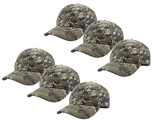 Gelante Plain Blank Baseball Caps Adjustable Back Strap Wholesale Lot 6 Pack - 001-Digital - Camo Cap Ball Digital