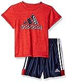 adidas Baby Boys Short Sleeve Tee and Short Set, Vivid Red Heather, 18M