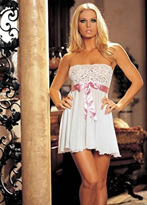 Shirley of Hollywood Women's Elegant Strapless Bow Trimmed Babydoll