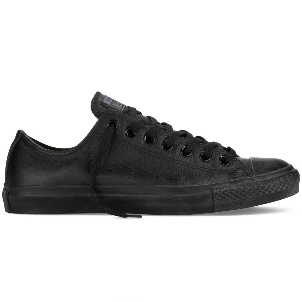 black leather low top converse