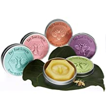 Honey House Large Bee Bar Natural Solid Lotion Bar 2 Oz in Embossed Tin Case, Assortment of 5 Scented Bars
