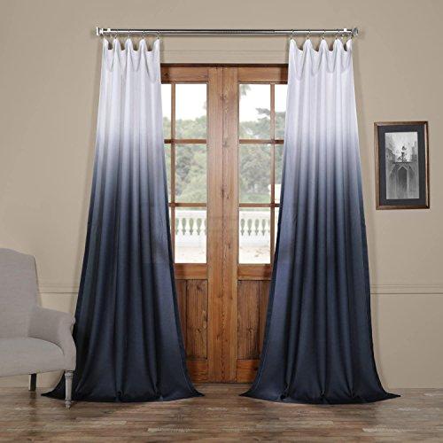 FELCH-OMB1707-84 Ombre Faux Linen Semi Sheer Curtain, Blue, 50 x 84 (Bedroom Indigo Ideas)