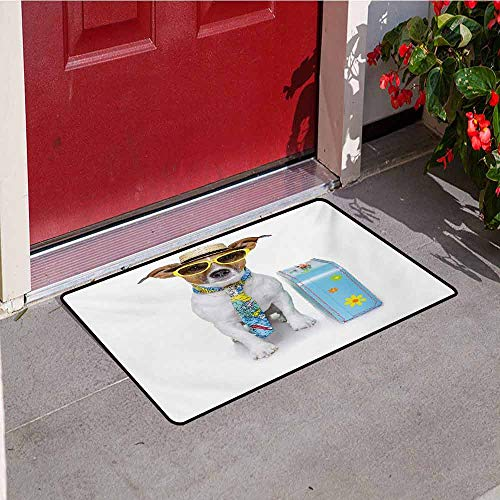 Jinguizi Dog Inlet Outdoor Door mat Traveler Funny Dog Dressed as a Tourist with Hat Glasses Necktie and a Floral Suitcase Catch dust Snow and mud W15.7 x L23.6 Inch Multicolor