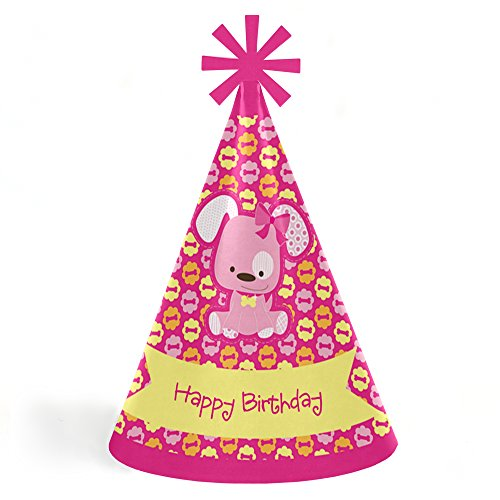 Girl Puppy Dog - Cone Happy Birthday Party Hats for Kids and Adults - Set of 8 (Standard Size)
