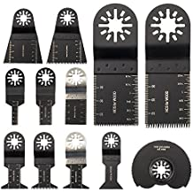 [Patrocinado] LITTLEGRASS 12PCS Wood //Nail /Metal Universal Quick Release Oscillating Saw Blades,Multitool Saw Blade For Fein Multimaster, Porter Rockwell Cable ,Black & Decker ,Bosch Craftsman and more (12pcs)
