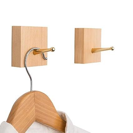 Yoyai - Perchero de pared de madera natural con ganchos de ...