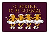 Ambesonne Animal Pet Mat for Food and Water by - Funny Ballerina Dancing Monkeys with So Boring to Be Normal Quote Print - Rectangle Non-Slip Rubber Mat for Dogs and Cats - Maroon and Marigold
