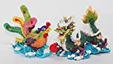 "Feng Shui Pair of 3"" Phoenix Dragon Statue Figurine Marriage Luck Wedding Lovers' Gift"