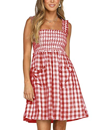 Blooming Jelly Womens Plaid Dress Sleeveless Swing A line Gingham Summer Short Mini Dresses with Pockets(XL,Red)