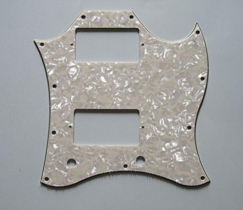 Gibson Pickguard Screws (Sg Pickguard 3 Ply Aged Pearl with 11 Chrome Screws for Gibson Sg Pickguard, Aged Pearl)