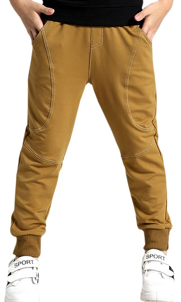 Kids Cotton Active Sports Basic Outdoor Jogger Sweat Pants with Pockets for Little Boys & Big Boys, Brown, Age 11T-12T (11-12 Years) = Tag 160