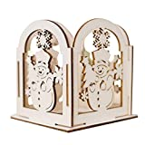 Ugood Christmas Creative Gifts Decoration Mini Wooden Candlestick Home Decoration (A)