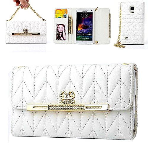 Price comparison product image Galaxy Note 4 case,CASY MALL Elegant Purse Handbag Case Leather Wallet Cover with Wrist Strap and Crossbody Chain for Samsung Galaxy Note 4 White