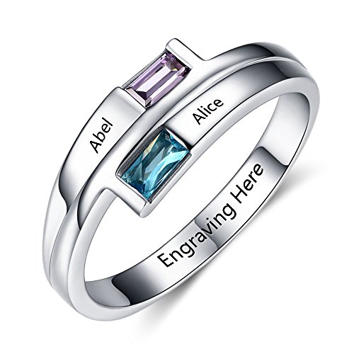 Engagement Women Promise Rings for Her Personalized Engraved Names 2 Simulated Birthstone Jewelry ()