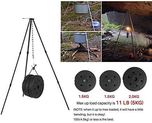 Cikuso Portable Pot Suspendu Camping en Plein Air Pique-Nique Cuisine Trépied Durable Feu de Pique-Nique Fonderie Barbecue Suspendus Trépied Noir