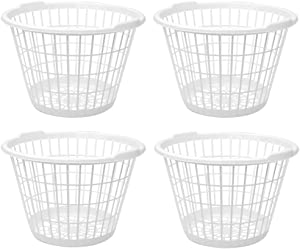 United Solution Set of 4 White Lightweight Plastic One Bushel Capacity Laundry Baskets