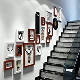Photo wall large size wall combination photo frame wall watch staircase photo wall decoration 5 Inch 7 Inch 10 Inch 14 Inch ( Color : Hu white )