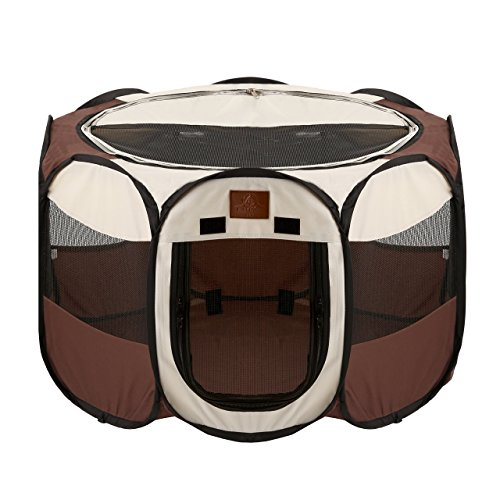 Parkland Pet Portable Foldable Playpen for Dogs, Small - Brown Dog Cat Play