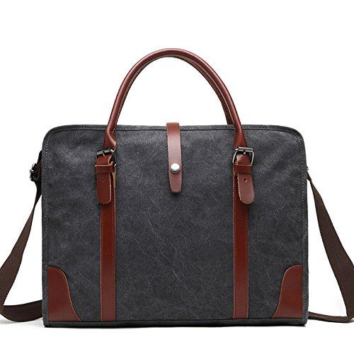 mefly el nuevo portátil Retro hombro Diagonal Canvas Bag Laptop Messenger Bag, negro negro