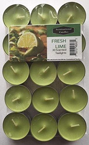 Scentsational Candles Tealight Candles - Made in the USA - Exclusive New Feature: Sealed in a Reclosable Bag to Preserve Scent and Safe Storage 30 Pack - (Lime)