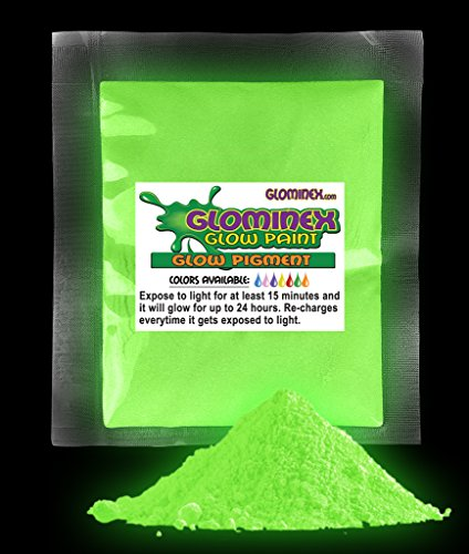 Glominex AD237, 1 Oz, Green Glow Pigment, Glow in The Dark Paint Pigment, Glowing Paint Powder, Glow Paint Pigment, Glow Party Supplies, Glow Body Paint for Concerts, Rave and Night Parties -