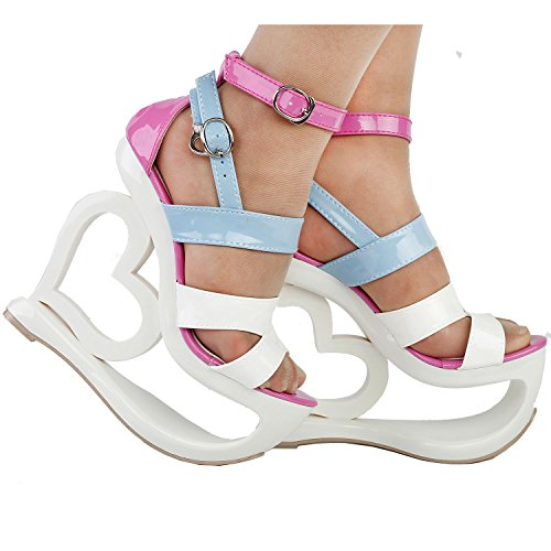 Show Story Fashion White Pink Blue Strappy Heart Heel Wedge Wedding Sandals,LF40203 White