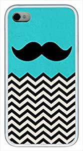 iCustomonline Black & Teal Chevron With Mustache Case for iPhone 4 4S TPU Material White