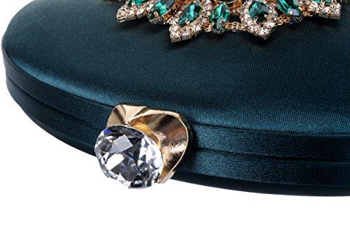Clutch Green Blackish Luxury Vintage Rhinestone Handbag QZUnique Purse Elegant Bag Women's Evening qH0xf0