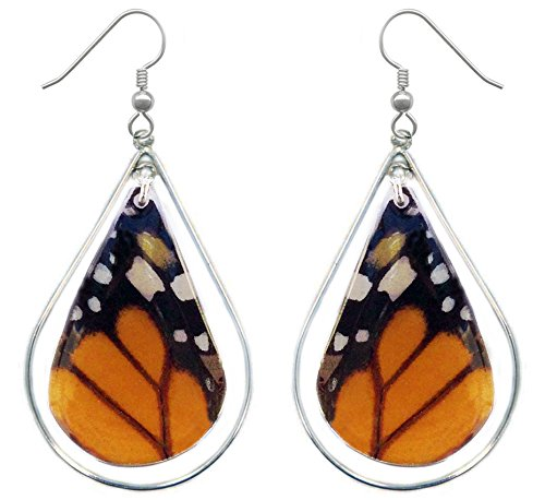 Monarch Butterfly Wing Sterling Silver Earrings – Monarch – Anniversary, Birthday, Gift, Handmade Jewelry