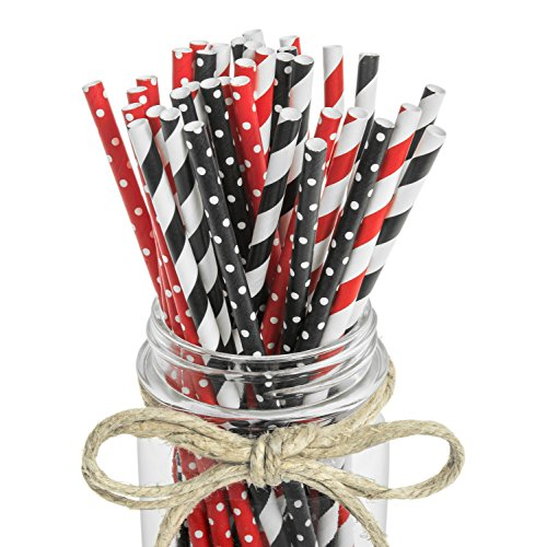 100 Piece - Black, White and Red Paper Drinking Straws - Stripes and Polka Dots - Party Decorations Perfect for Kids 1st Birthday Parties, Cocktails, Ladybug Party Supplies - Haute Soiree -