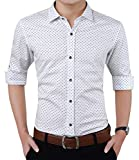 YTD Mens 100% Cotton Casual Slim Fit Long Sleeve Button Down Printed Dress Shirts US M White