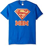 DC Comics Men's Superman Super Mom T-Shirt, Royal Blue, Large
